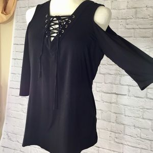 Boston Proper black cold shoulder laced v neck top